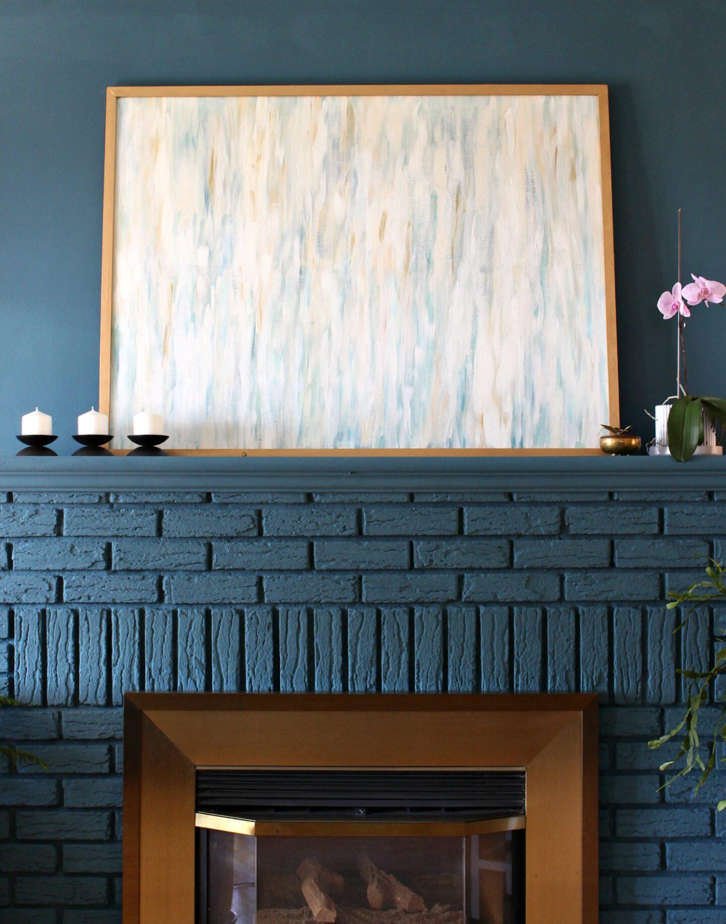 Blue Brick Fireplace DIY