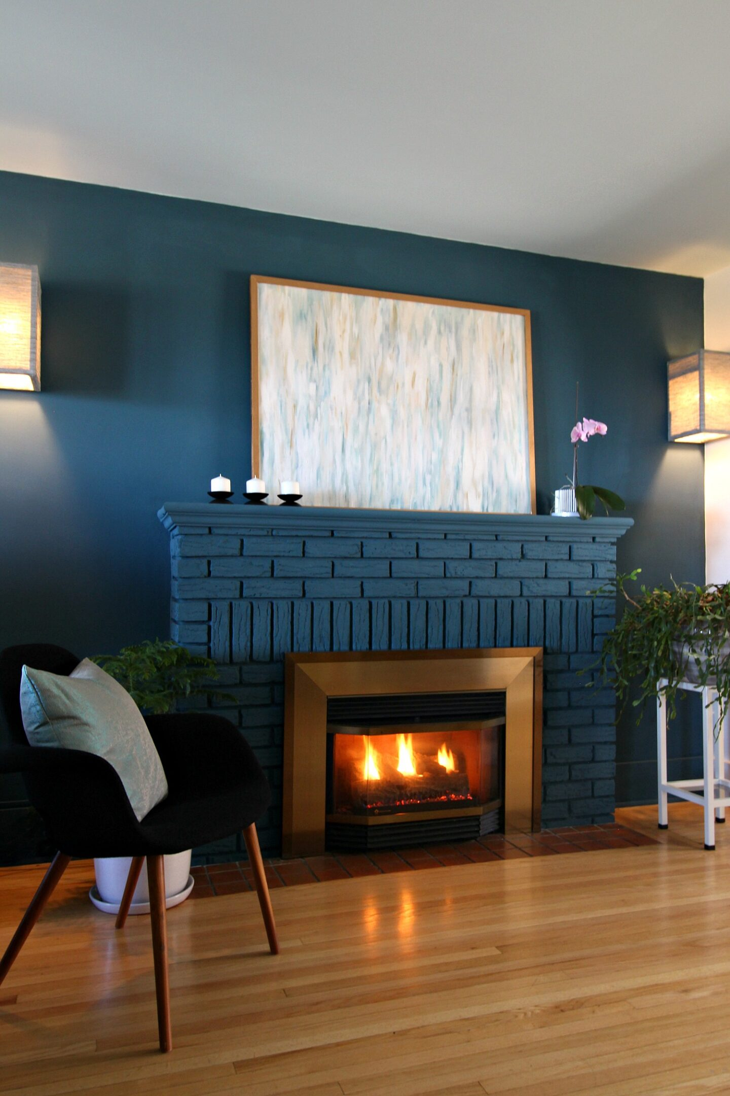 Blue Brick Fireplace Makeover