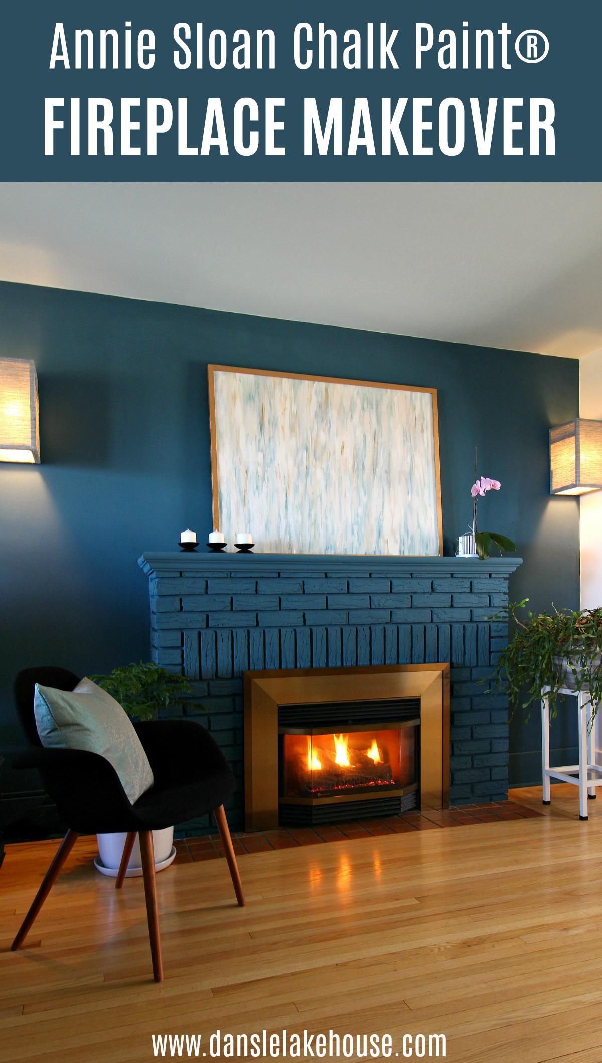 DIY Painted Brick Fireplace
