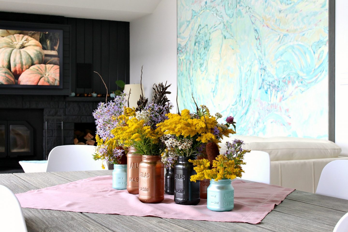 Easy Fall Decor Idea: Painted Mason Jars and Wild Flower Arrangement