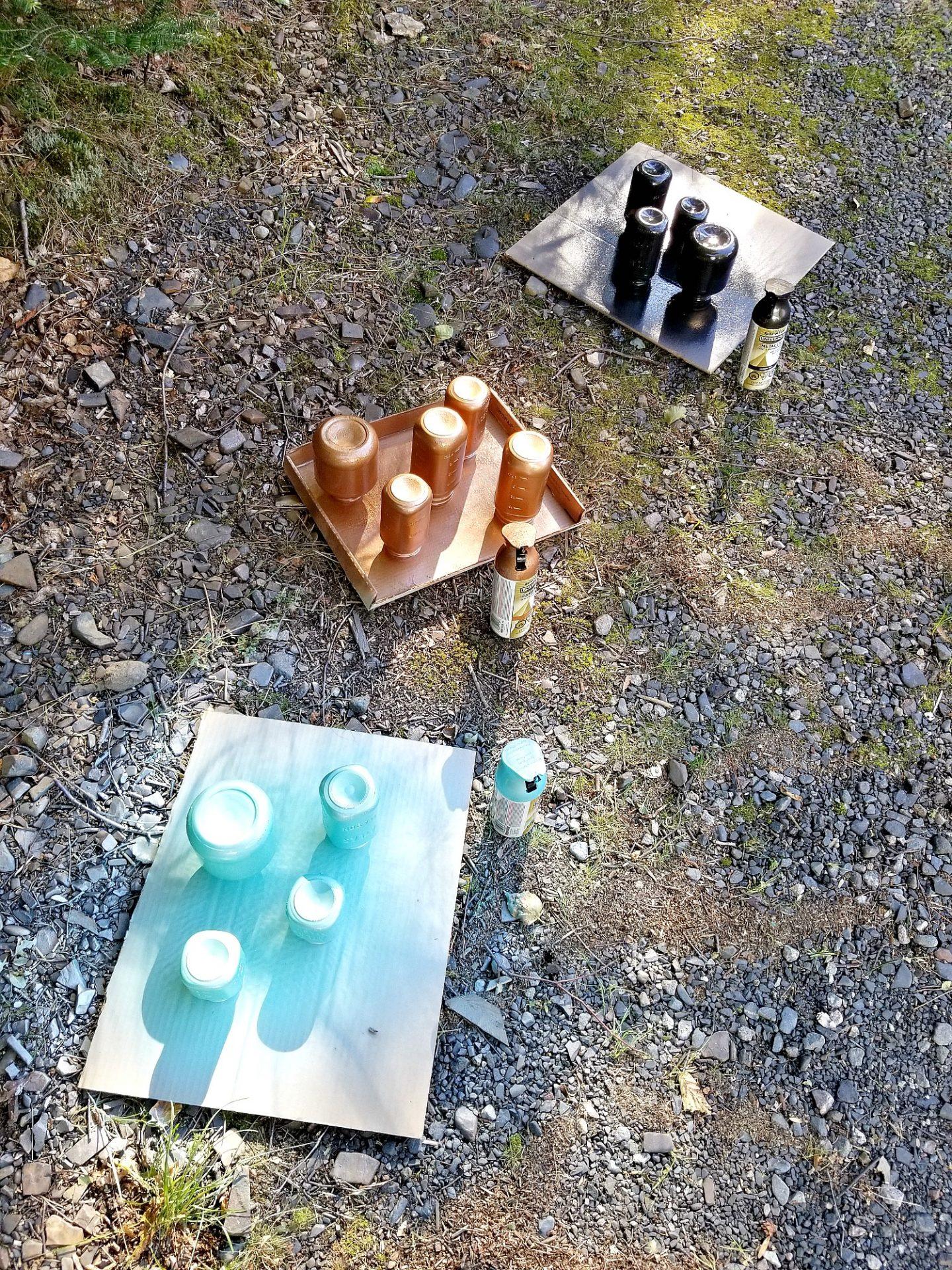 Spray Painted Mason Jars Craft