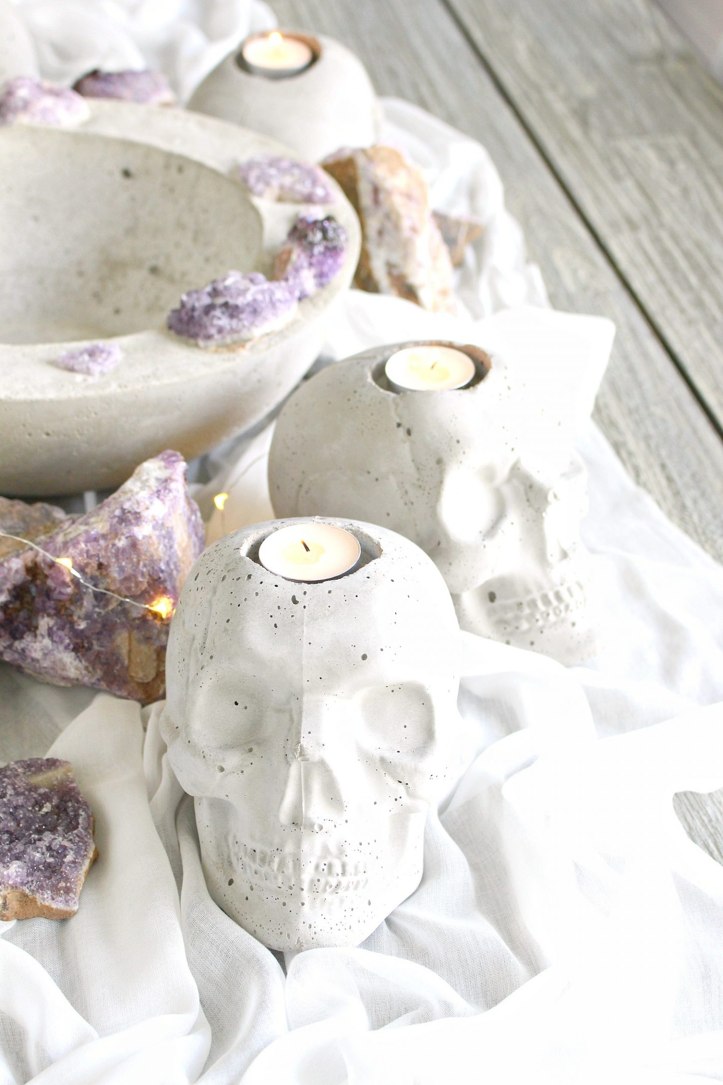 Concrete Skull Candle Holder