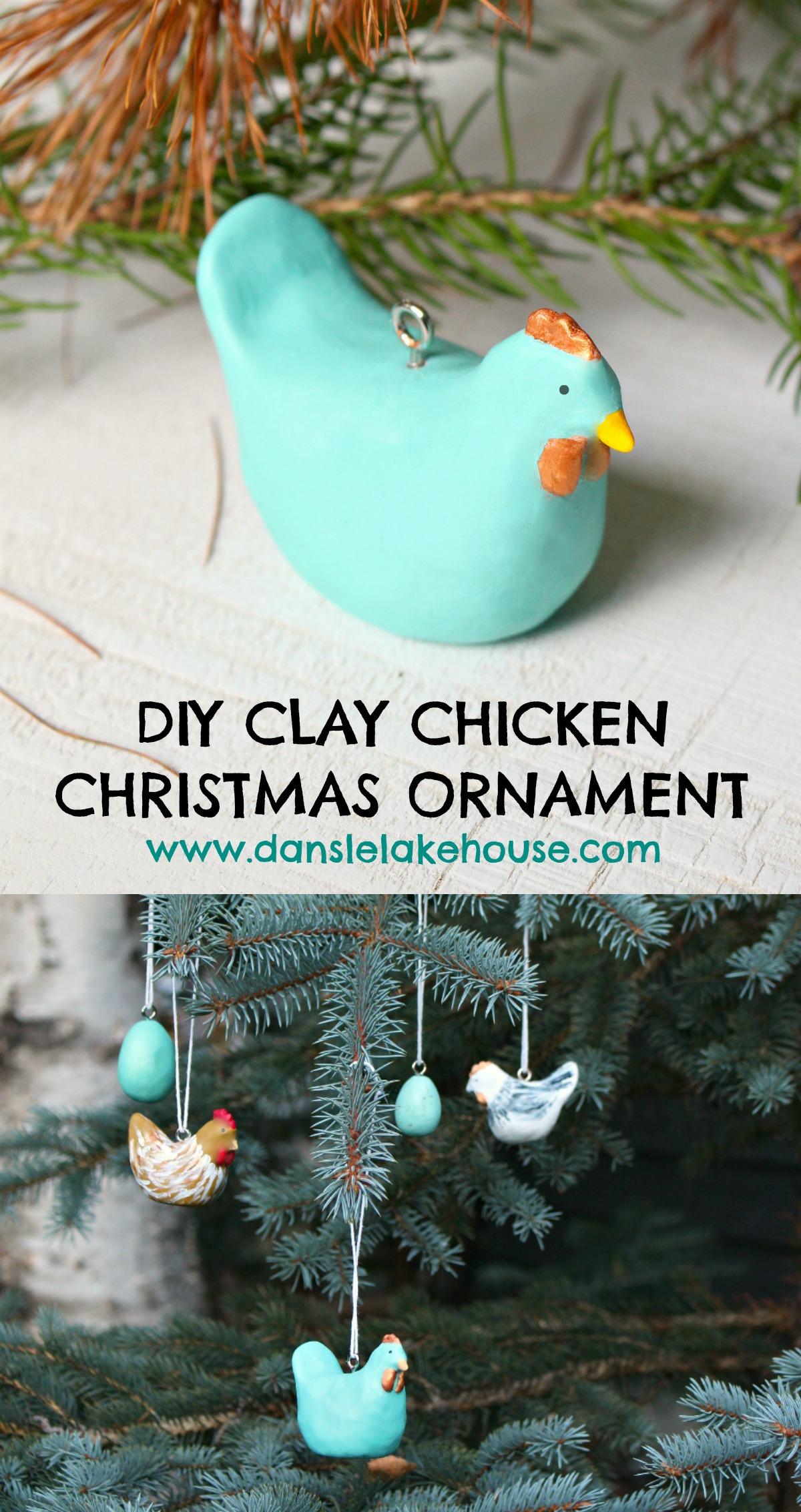 DIY Clay Chicken Christmas Ornament