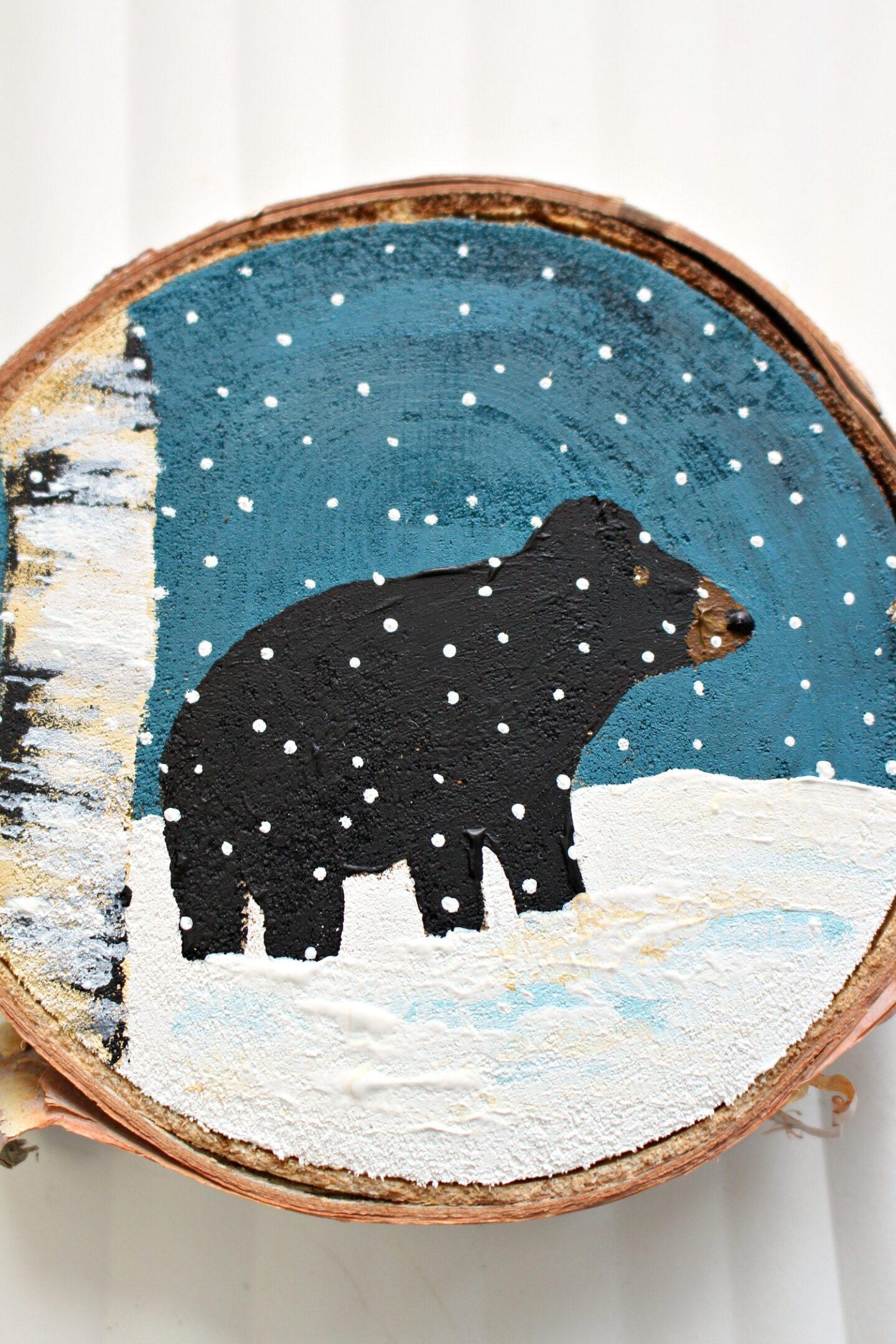 Ornement d'arbre de Noël peint à la main ours noir