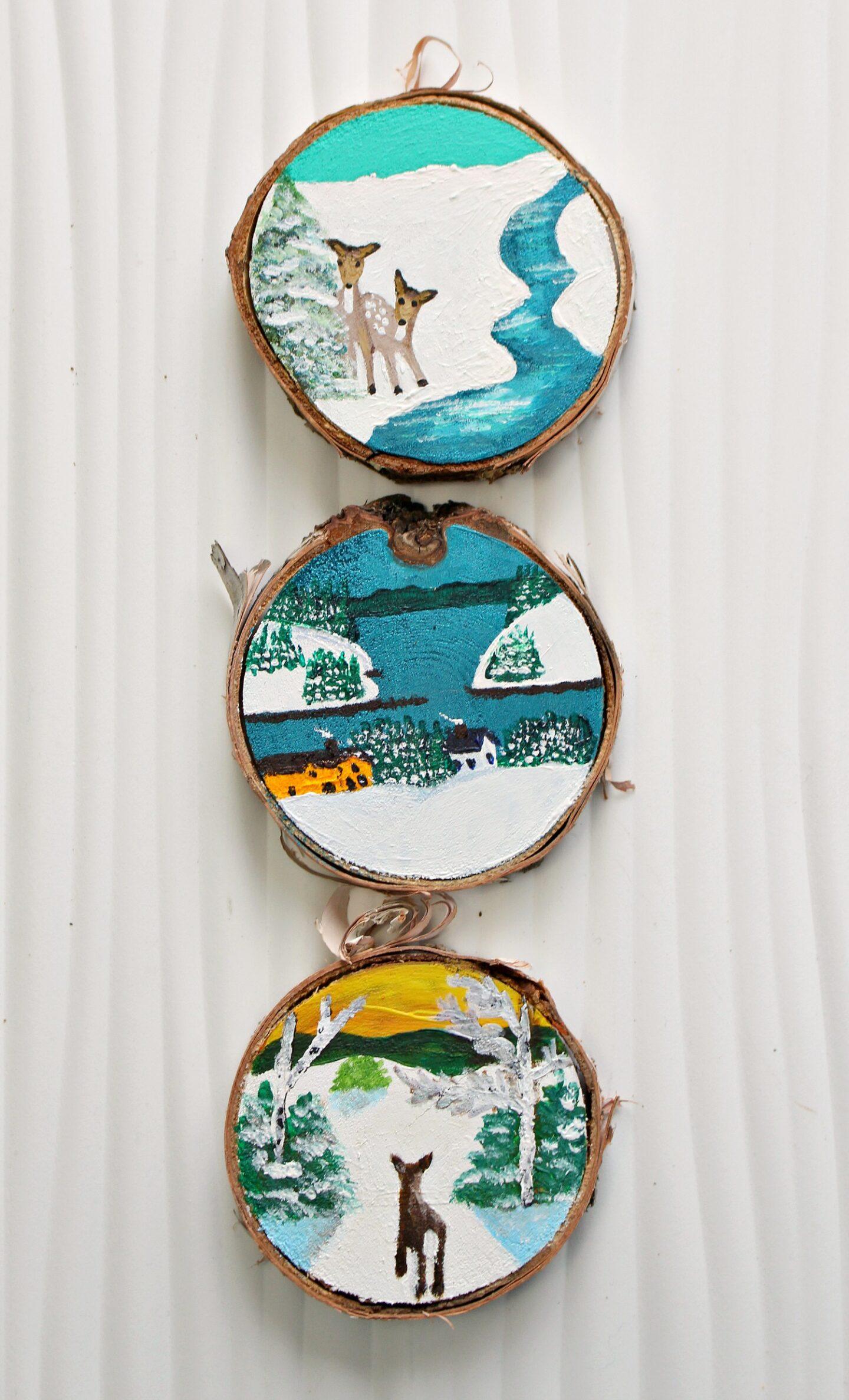 Décorations de Noël inspirées de Maud Lewis