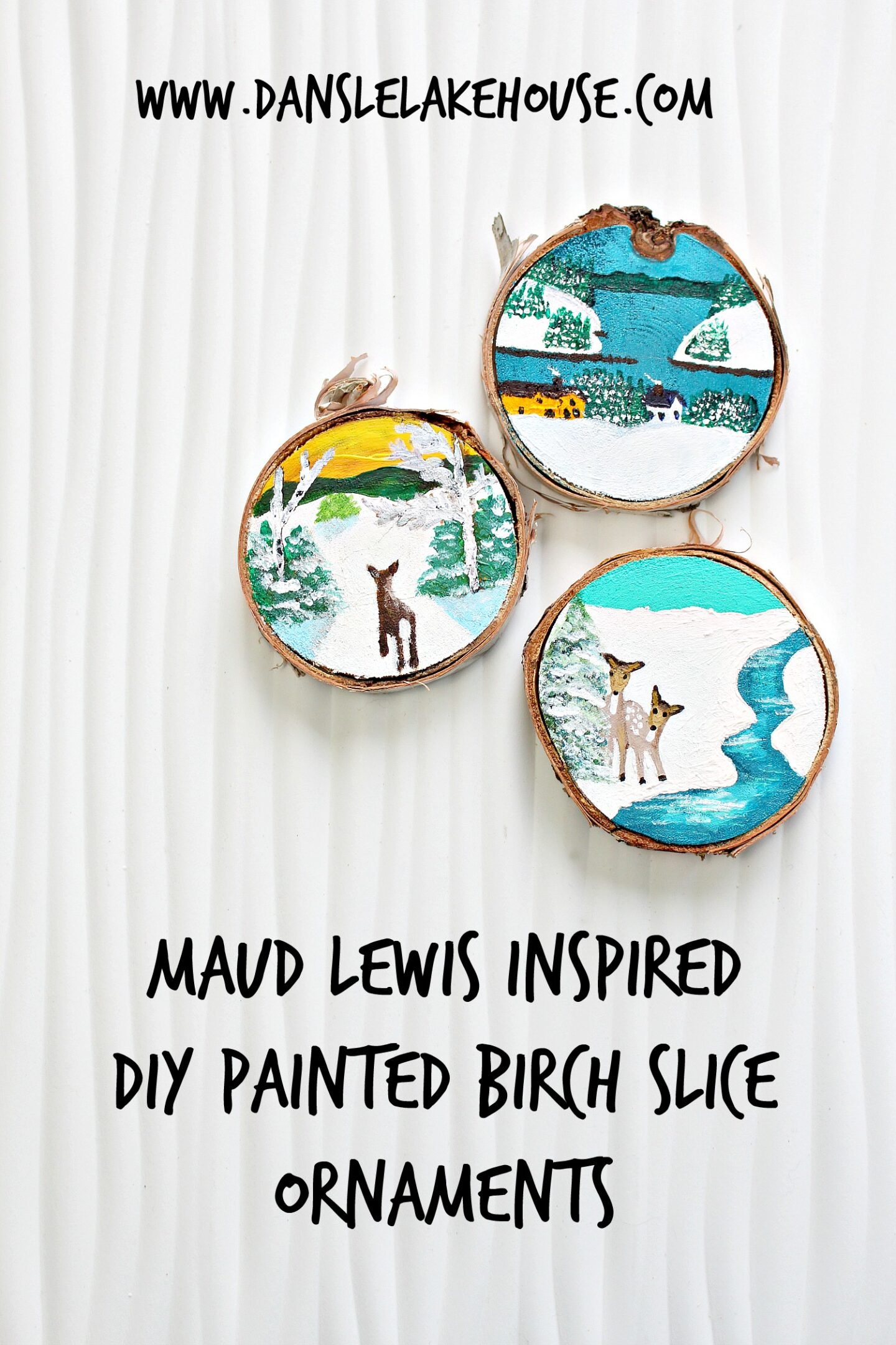 Ornements coupés en bouleau peints à la main (inspirés de Maud Lewis)