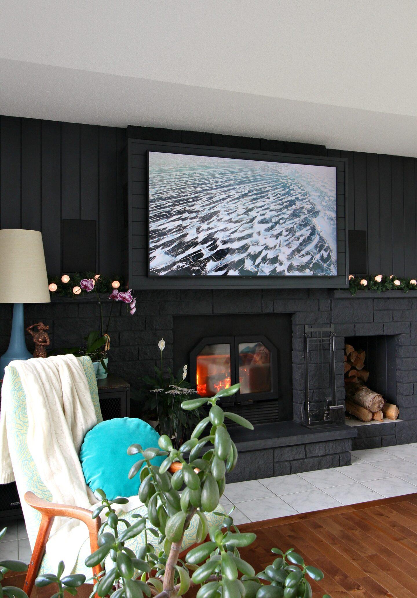 Black Painted Brick Fireplace and Minimalist Christmas Decor