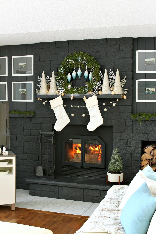 Blue and White Christmas Mantel Decor