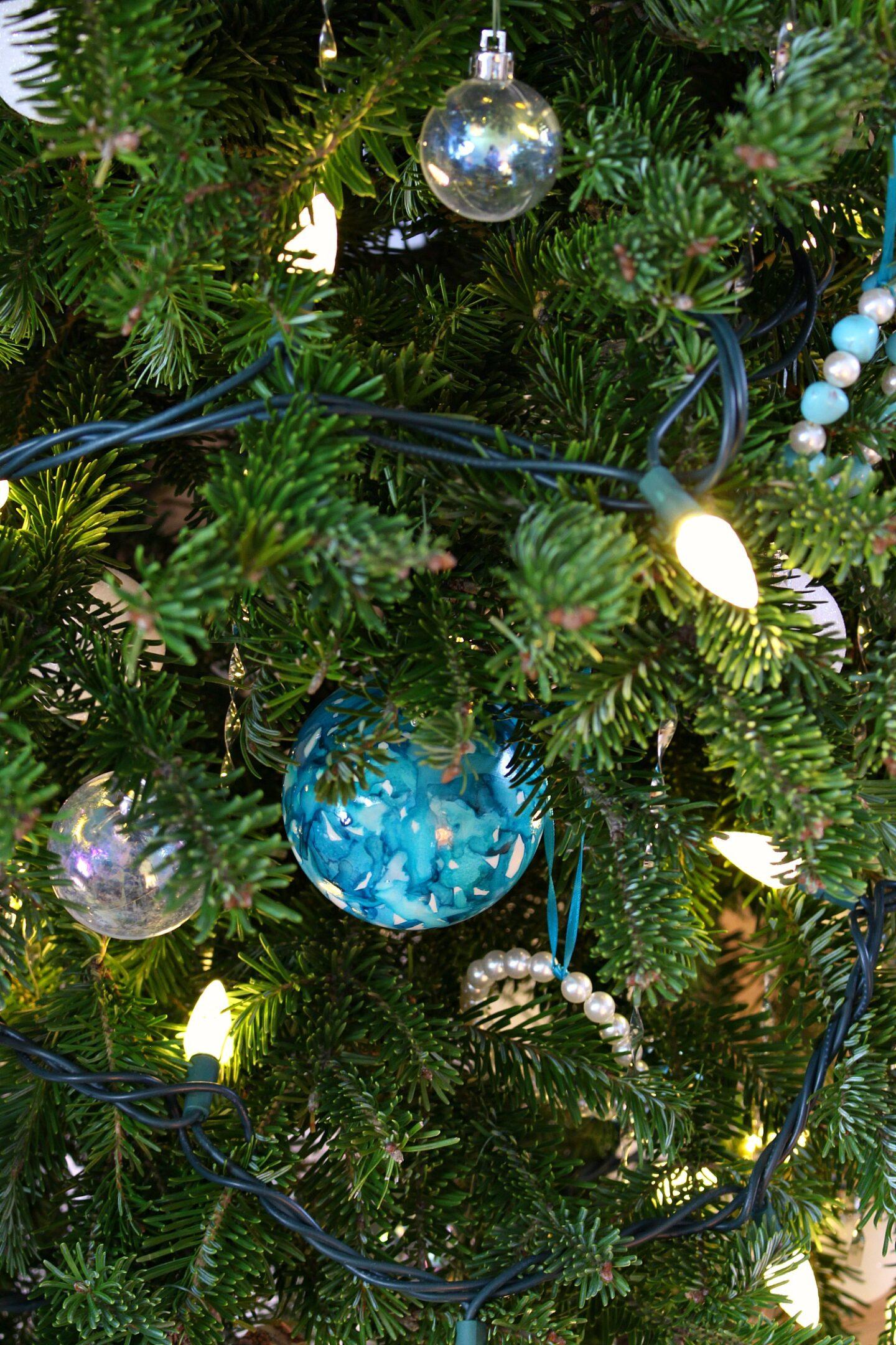 Handmade Turquoise Christmas Tree Ornament