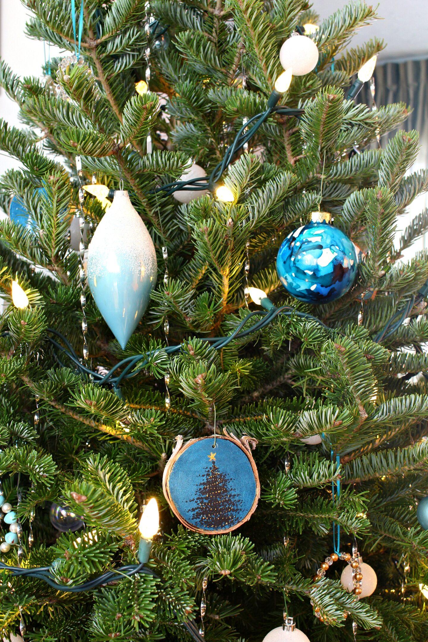 DIY Teal Christmas Tree Ornaments