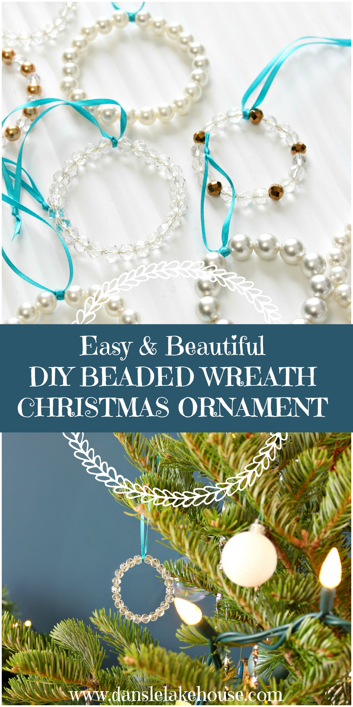 Easy DIY Beaded Wreath Christmas Ornament